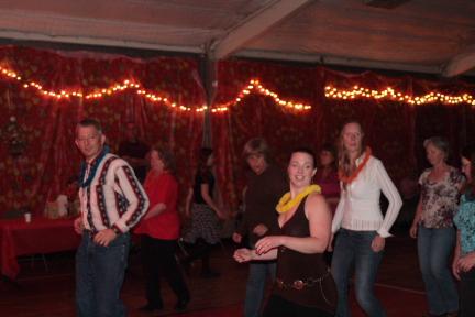Line Dancing at the Boulder Creek Fall Dance - the 3rd annual Boulder Creek Fall Dance!
